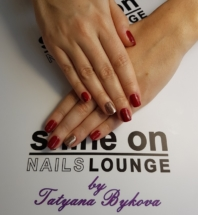 Acrylic Artificial Nails Red-Gold